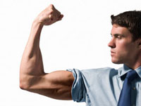 Businessman Flexing Bicep