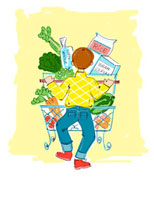 Illustration of Man Grocery Shopping