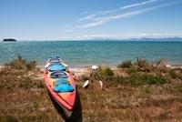 Kayak Beached on Shoreline, New Zealand