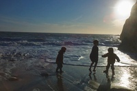 Three Children Playing on Shore, Quiberon, Gulf of Morbihan,