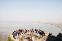 Tourists at Mont Saint Michel, Normandy, France