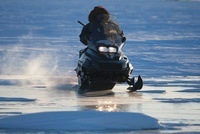 Man Riding Snowmobile, Churchill, Manitoba, Canada