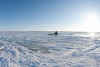 Snowmobiler Towing a Sled, Churchill, Manitoba, Canada