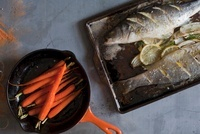 Still Life of Trout and Carrots