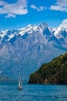 Sailboat off the Coast of Dervio, Lake Como, Lombardy, Italy