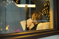 Women Reading at Christmas Time