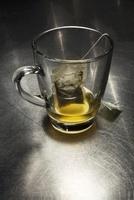 Green Tea Bag in Glass Mug