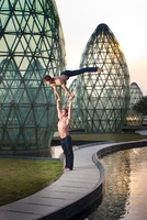 Two Acrobats Performing Outside, Taipa,Macau, China