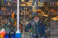 Man in Gas Station Window, Maine, USA