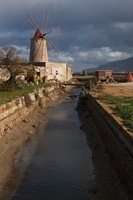 Windmill and Ditch at Salina Calcara, Province of Trapani, S