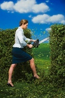 Businesswoman Chopping Down Hedge with Chainsaw