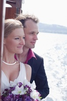 Couple on Boat on Wedding Day