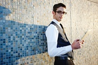 Businessman Holding Tablet PC