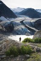 Hiker, Berendon Glacier, Coast Mountains North of Stewart, B