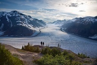 Hikers, Salmon Glacier, Coast MountainsNorth of Stewart, Bri