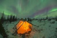 Tent and Aurora Borealis, Churchill, Manitoba, Canada