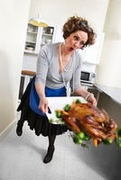 Woman Tripping on Dropping Turkey Platter