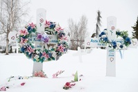 Grave Markers in Cemetery, Inuvik, Northwest Territories, Ca
