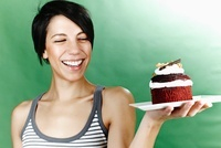 Woman Holding Cake on Plate
