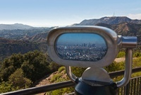 Hollywood Hills and City Reflected in Viewer, Los Angeles, C
