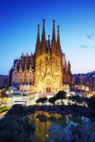 La Sagrada Familia Church at Dusk, Barcelona, Spain
