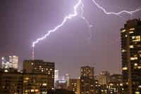 Lightening Striking CN Tower, Toronto, Ontario, Canada