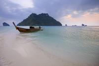 Boat Tied Up at Shore with Koh Mor and Tup Island, Andaman Sea, near Krabi, Thailand