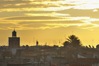 Rooftops and Atlas Mountain at Sunrise, Marrakech,  Morocco