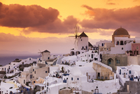 View of Oia at Sunset, Santorini Island, Greece