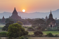 Temples at Sunset from Shwesandaw Pagoda, Bagan, Myanmar
