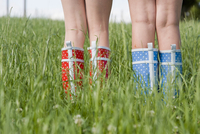 Close-Up of Girls Wearing Rubber Boots