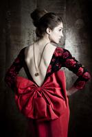 Portrait of Woman Wearing Red Dress