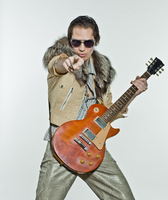 Rock Star with Guitar Pointing at Camera