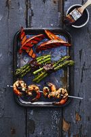 Shrimp Skewers and Grilled Vegetables