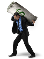 Businessman Carrying Large Sack of Money on Back