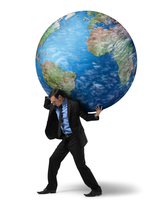 Businessman Carrying Globe on Back