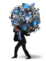 Businessman Carrying Ball of Electronics on Back
