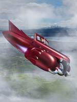 Woman Flying Jet Car in Fog