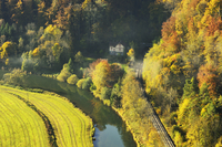 House and Railroad Tracks in Danube Valley, near Beuron, Baden-Wurttemberg, Germany