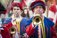Horn Player, Scoppio del Carro, Explosion of the Cart Festival, Easter Sunday, Florence, Province of Florence, Tuscany, Italy