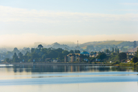 Morning fog over Puerto Varas on shores of Lake Llanquihue, Los Lagos Region, Chile