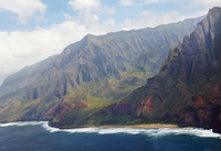 Aerial view the dramatic and rugged coastline of Na Pali Coast State Park, Kauai, Hawaii