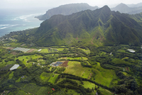 Aerial view of farmland in Kahana Valley on the Windward coast of Oahu, Hawaii