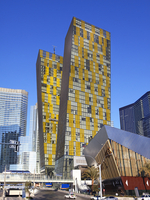 View of the 'Veer towers', twin 37 story towers located on the Las Vegas strip and completed in 2010.