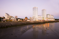 Downtown of Puerto Montt and Shoreline at Dusk, capital of the X Region de Los Lagos, Chile