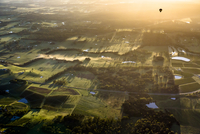 Aerial view of hot air ballooning and wine country near Pokolbin, Hunter Valley, New South Wales, Australia