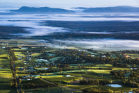 Aerial view of wine country near Pokolbin, Hunter Valley, New South Wales, Australia