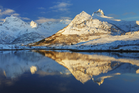 Frosty mountains at Austnesfjorden - Europe, Norway, Lofoten, Austvagoya, Austnesfjorden - Sunrise