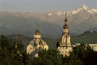 Zenkov Cathedral and Tien Shan mountains, Almaty, Kazakhstan, Central Asia, Asia