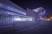 Night View of the MAXXI, Rome, Lazio, Italy.